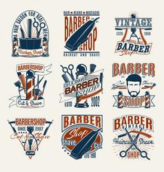 colored vintage barbershop logotypes set vector image