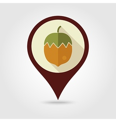 Nut flat pin map icon Fruit vector image vector image