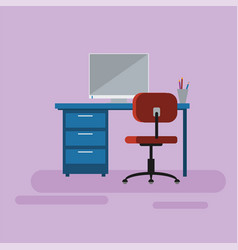 operating manager space desk chair and computer vector image vector image
