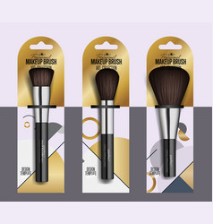 realistic professional makeup artist brush set vector image