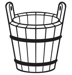 wooden bucket vector image vector image