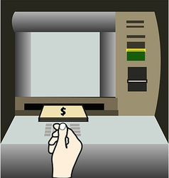 ATM money withdraw background vector image