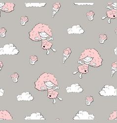 cute cartoon little mermaid girls seamless pattern vector image