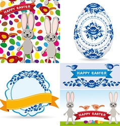 Easter set traditional eggs gzhel flowers birds vector image vector image