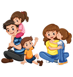 father and mother with three kids vector image