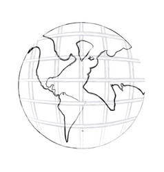 monochrome contour hand drawing of earth world map vector image vector image