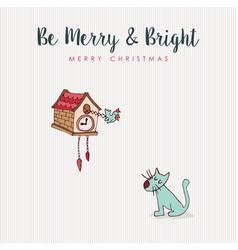 christmas fun cat and bird hooliday cartoon card vector image vector image