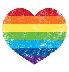 Gay rights rainbow retro heart flag vector image vector image