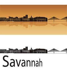 Savannah skyline in orange background vector image