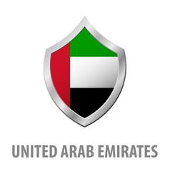 united arab emirates flag on metal shiny shield vector image