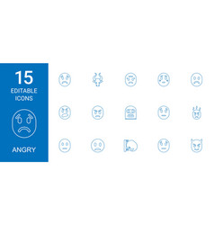 15 angry icons vector