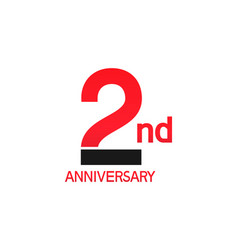 2 years anniversary logotype with black and red vector