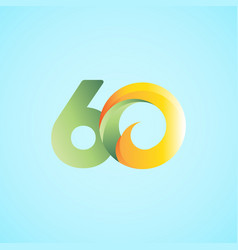 60 years anniversary celebrations yellow green vector
