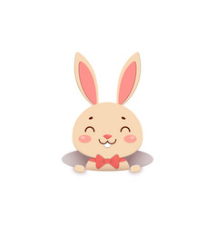 a cute cartoon bunny in a red bow tie is looking vector image