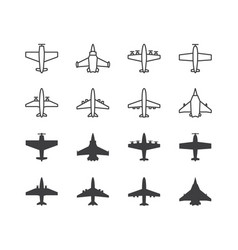 airplane symbols set aircraft plane icons or vector image