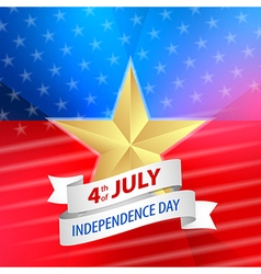 American 4th july with ribbon vector