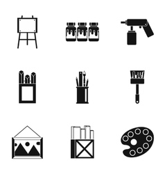 Art icons set simple style vector