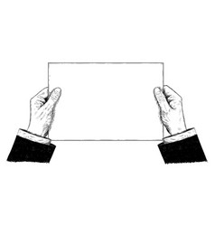 artistic or drawing of businessman hands holding vector image