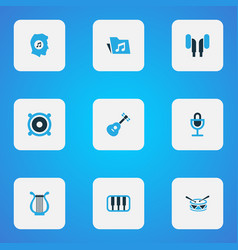 audio icons colored set with meloman mike vector image