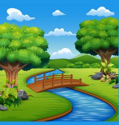 background scene with bridge across in the park vector image