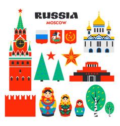Big russiam set russian landmarks on white vector