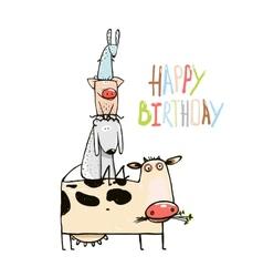 Birthday Funny Cartoon Farm Domestic Animals vector image