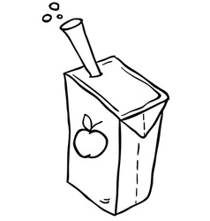 Black and white freehand drawn cartoon juice box vector
