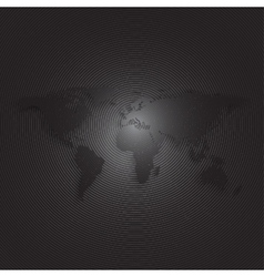 Black world map on dark background textured vector image
