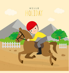 boy ride racehorse sport outdoor cartoon vector image