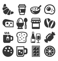 breakfast icons set on white background vector image