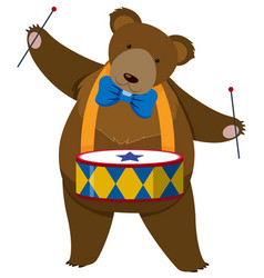 brown bear playing drum vector image