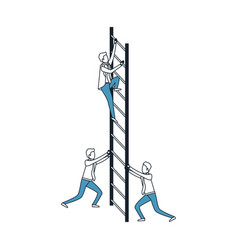 business men climbing wooden stairs in color blue vector image