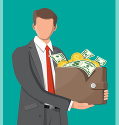 businessman holding leather wallet full money vector image