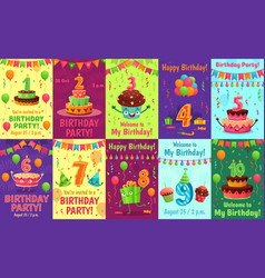 cartoon anniversary greeting card birthday vector image