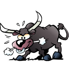 Cartoon of a crazy and angry bull vector
