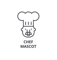 chef mascot line icon outline sign linear symbol vector image