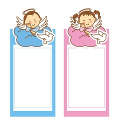 Christening girl and boy vector