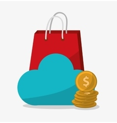Cloud computing and digital marketing design vector
