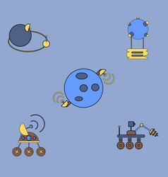 Collection of icons and space technology vector