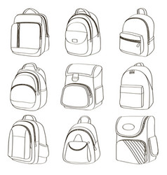 Colored teenager school backpacks set vector