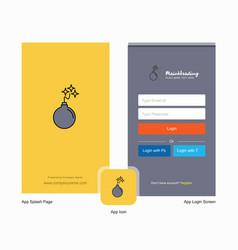 company bomb splash screen and login page design vector image
