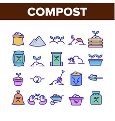 compost ground soil collection icons set vector image