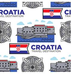 Croatia travel destination seamless pattern vector