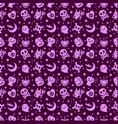 Cute halloween pattern background with purple vector