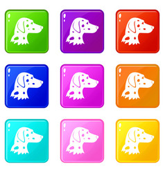 Dalmatians dog icons 9 set vector