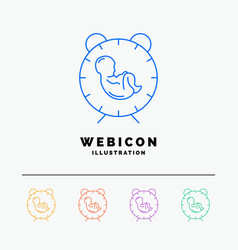 Delivery time baby birth child 5 color line web vector