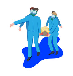 doctors in blue protective coveralls carry patient vector image