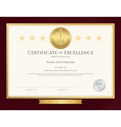 Elegant certificate template for excellence vector