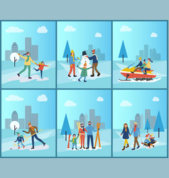 family snowmobiling skiing and building snowman vector image