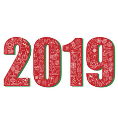 festive poster with new year 2019 vector image